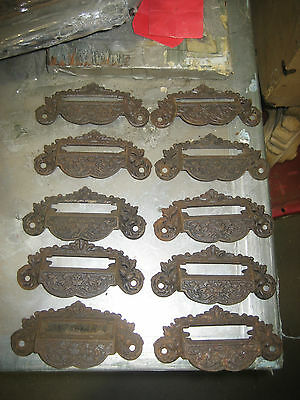 "c1880 SET of 10 matching authentic VICTORIAN cabinet pull hardware 4"" on holes"