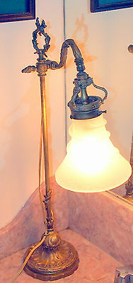 Art Nouveau French Tall 19 C Gilt Bronze & Frosted Glass Shade Adjustable Fine