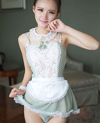 Women Lady Sexy Maid Lace Sleepwear Nighties Lingerie G-string Costume Uniform