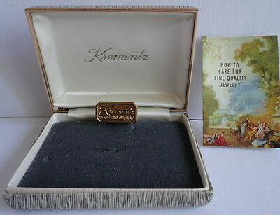 Krementz 14Kt. Gold Overlay Presentation Box ONLY with Original Booklet c.1966