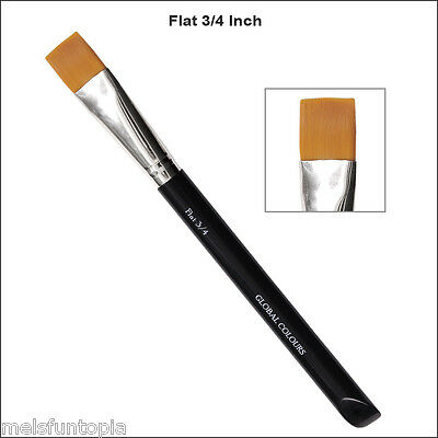 1 x Global Colours 3/4 inch Flat Brush Face Paint Body Painting Taklon Bristle