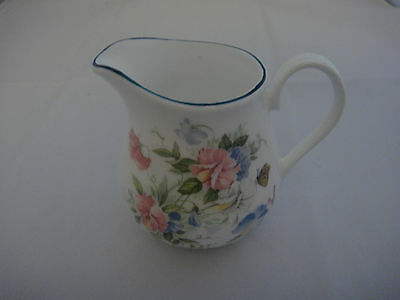 Porcelain Fine Bone China Creamer with pink and blue Flowers, made in England,