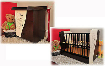 Baby furniture set: Cot with drawer and chest of drawers MOKATE II + mattress