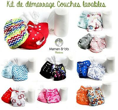 Kit De Démarrage Lot 2 Couches Lavables Te1 6 Inserts 100 Voiles De Protection