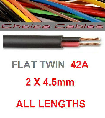 12v/24v AUTOMOTIVE 2 CORE FLAT TWIN THINWALL CABLE 4.5mm 42A TWIN CORE CAR WIRE