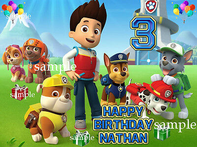 New PAW PATROL Edible ICING Image Birthday CAKE Topper Decoration FREE SHIPPING