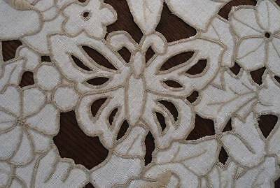 Vintage Italian Linen Tray Doily Cutwork Embroidered Butterflies Ecru Placemat