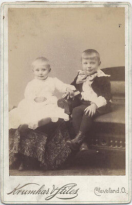 Cabinet Card, Two Small Smiling Children Posing For A Portrait. Cleveland, Oh.
