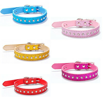 PU Leather Pet Dogs Cat Collars Fluorescence Rhinestone Diamante Bling Accessory