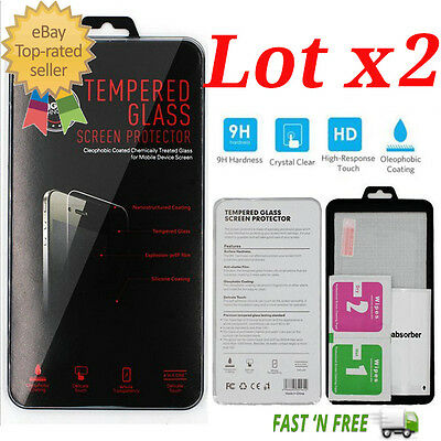 Lot x2 Premium Tempered Glass Screen Protector for Apple iPhone SE 6S/6S Plus