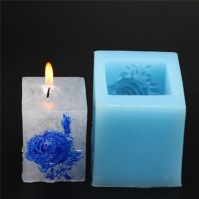 Nicole Factory Wholesale Square Rose Flower Design Silicone Soap Candle Moulds