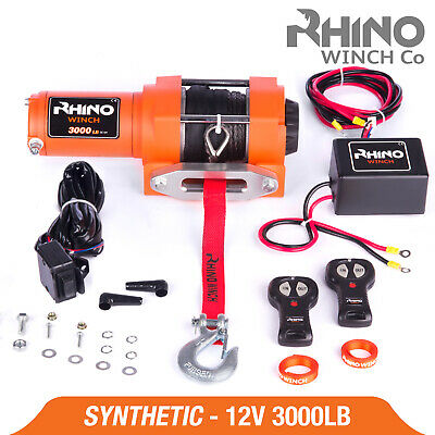 12v Electric Winch - 3000lb Dyneema Rope - ATV, Off Road, 4x4 Recovery ~ RHINO