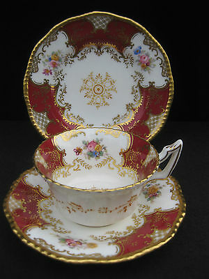 Rare Antique Coalport Red Batwing Pattern Tea Cup, Saucer, Side Plate Trio. (A)