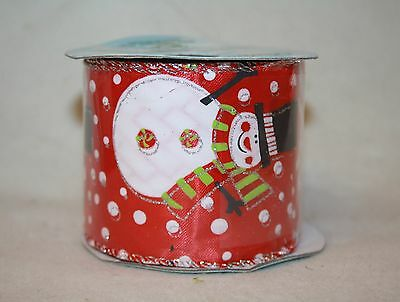 63mm x 10 Yards Red & Snowmen Wired Edge Christmas Craft Wreath Gift Ribbon P925