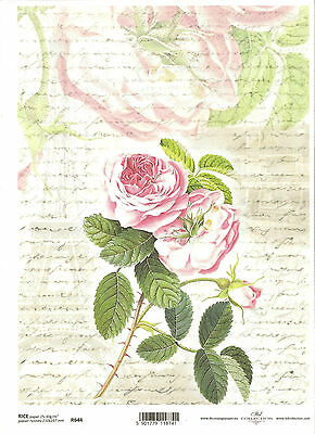 A4 size ITD R007 Rice Paper for Decoupage Scrapbooking Vintage Letters Roses