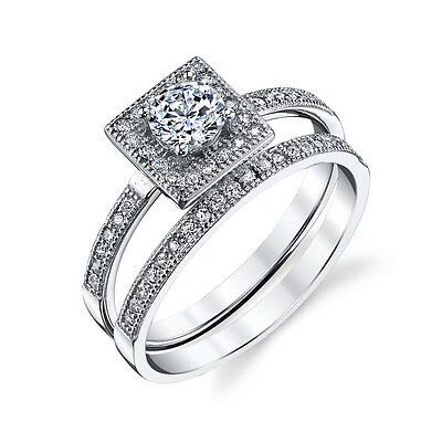 925 Sterling Silver Square Bridal CZ Engagement Wedding Ring Set Cubic Zirconia