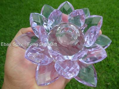 Large Candle Holder Crystal Chinese Lotus Flower big Healing Harmony Purple
