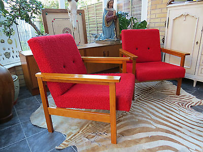 A Pair Of Red East German / Danish Style Cocktail Lounge Armchairs C1965 • £340.00