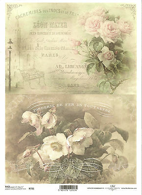Rice Paper for Decoupage Scrapbooking, Vintage Roses White Flowers ITD R731