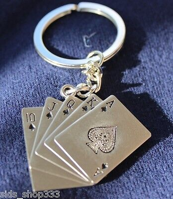 POKER Royal Flush FULL metal Collectible Key chain cosplay :) US SELLER