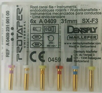 Dental Dentsply Rotary ProTaper Universal Engine NiTi Files 31 mm SX-F3