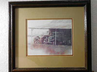 Vintage 1978 Art Print Old Ford Truck Tractor Farm Artist Signed