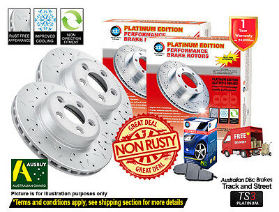 4 FRONT REAR DISC BRAKE ROTORS DRILLED SLOTTED FORD FALCON AU II, AU III w/ PADS