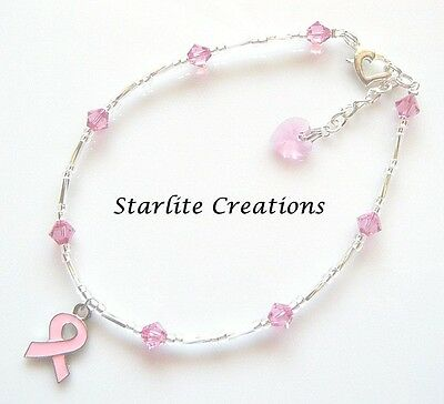 Swarovski crystal & silver PINK RIBBON charm ANKLET Breast Cancer Awareness