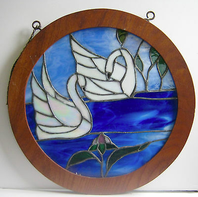 Round Stained Glass Window Two Swans in Very Blue Water Framed in Wood