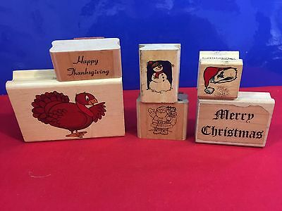 6 Christmas Wood Mounted Rubber Stamps