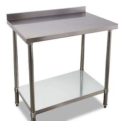 900mm x 700mm New Stainless Steel Kitchen Work Bench Prep Table With Splashback