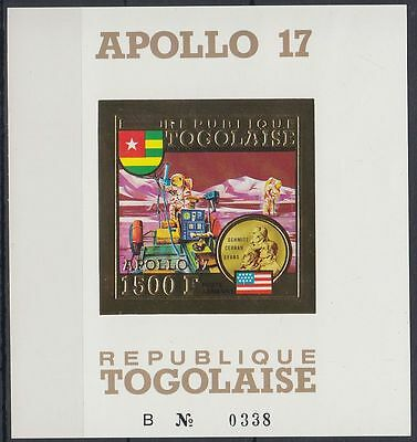 Togo 1973 ** Bl.73 B Weltraum Space Espace Apollo 17, Gold Foil issue