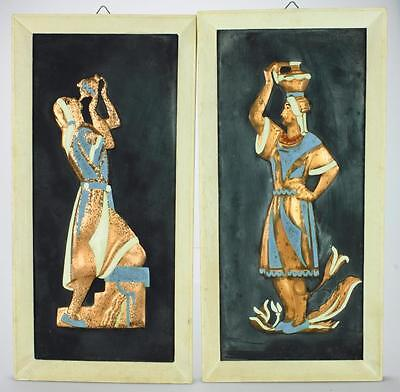 Pair of Rikuah Art Craft Hand Painted Copper Plaques from Israel DH12