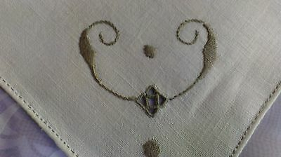 """12 Antique Vintage Italian Dinner Table Napkins Embroidered Lace Linen 16"""""""