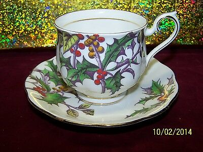 "Royal Albert Bone China Flower of the Month Series ""Holly"" Cup & Saucer England"