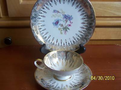 Schirnding Retro Art Deco Flowers/Gold Cup& Saucer Trio