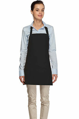 6 pack  Daystar Aprons 1 Style #200 Three Pocket Black Bib Apron - Made in USA