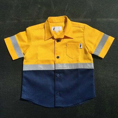 Short Sleeve Kids Hi Vis Work Shirts Yellow/Navy