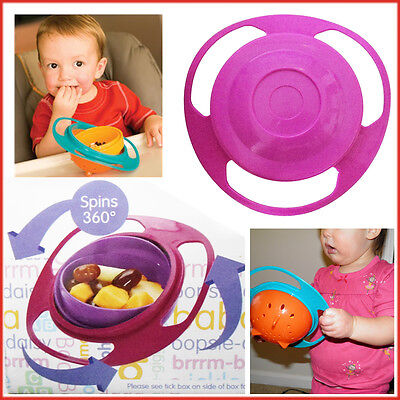 Babies Food 360 Anti Spill Bowl with Lid Rotate without Spilling Feed Easily NEW