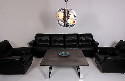SPACE AGE 1969 AMAZING LOUNGE LEATHER SOFA + 2 EASY CHAIRS FAUTEUILS A 70 70s
