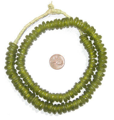 African Lime Rondelle Recycled Glass Beads Ghana