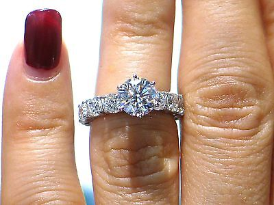 6.17 CT Natural round cut diamond eternity engagement ring SI1/G 14K white gold