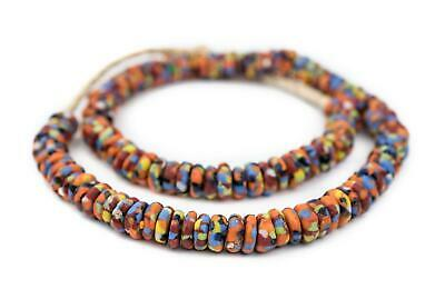 Bright Medley Fused Rondelle Recycled Glass Beads 11mm Ghana African Multicolor