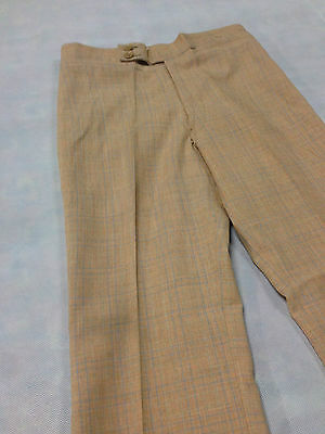 Vintage Boys /Mens 1970's Pant Disco Pink Peach Plaid Trouser Sz 28 Blue Check