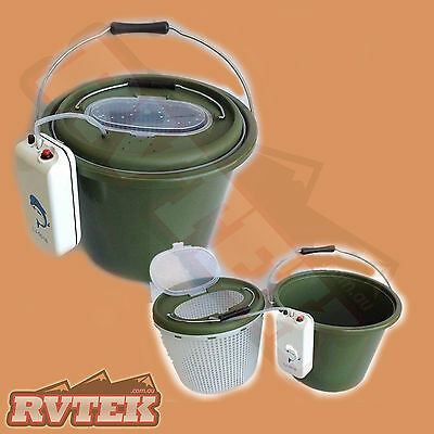 3in1 LIVE BAIT BUCKET REMOVABLE INNER BUCKET & AERATOR PUMP 12L 180hrs RUN TIME