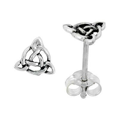 .925 Sterling Silver Triquetra Celtic Knot Stud Earrings, 1/4 inch