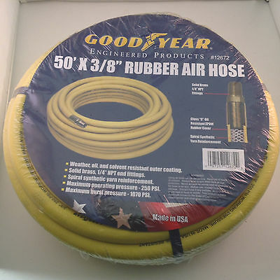 Goodyear 3/8-Inch by 50-Feet 250 PSI Rubber Air Hose with 1/4-Inch MNPT 12672