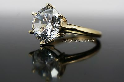 4.00 CTW engagement wedding aniversary ring Solid Yellow gold round cut 14k