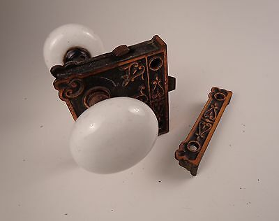 Antique White Porcelain Door Knobs with Brass Lock Set • CAD $201.60