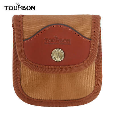 Tourbon Rifle Cartridge Ammo Holder Pouch Bullets Wallet Canvas & Leather 6 Loop